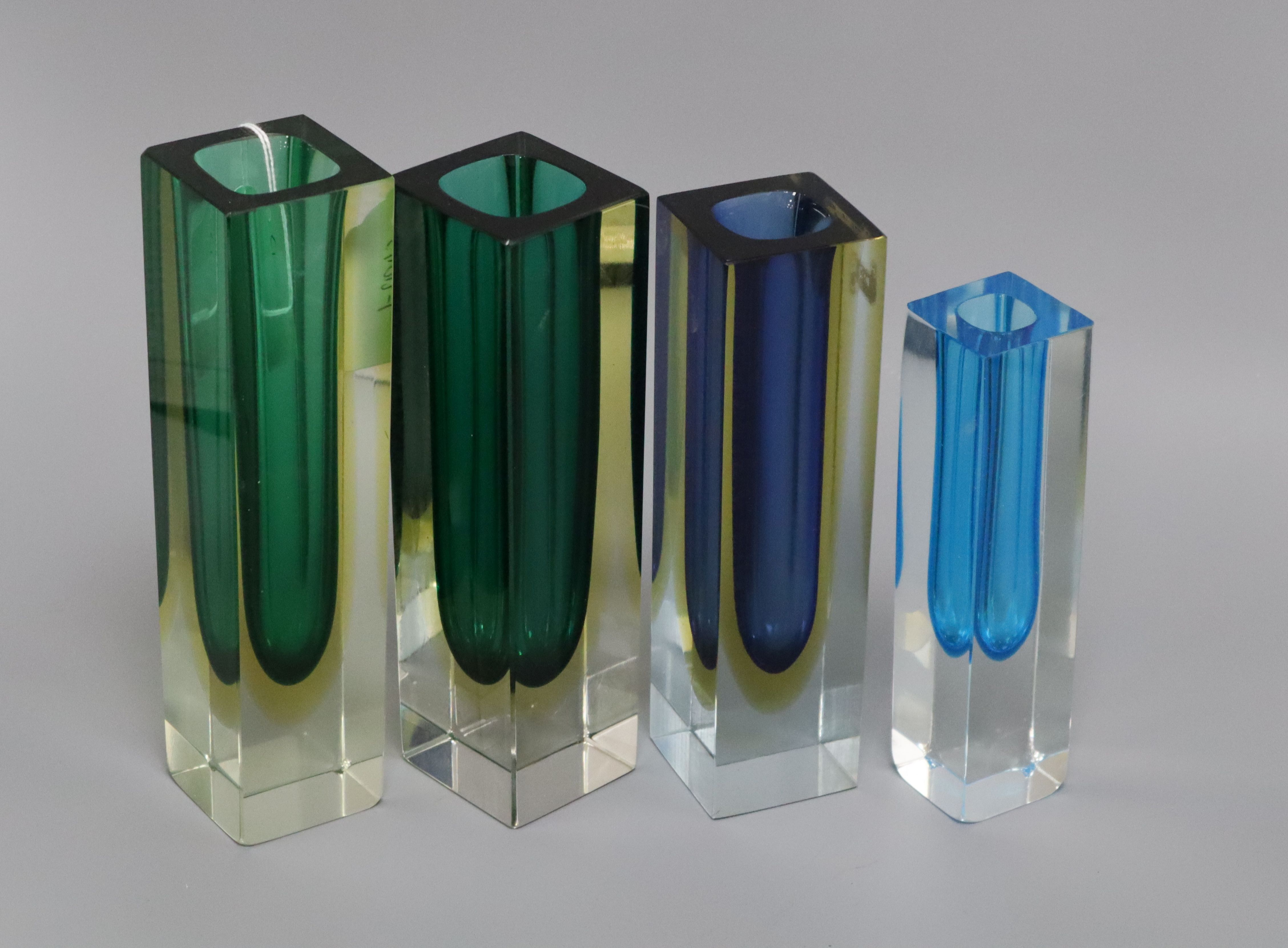 Lot 6 - Four Murano glass vases, c.1960/1970's, vintage from Alessandro Mandruzzalo factory, Venice