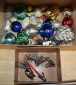 Mixed 1950's and later glass christmas tree decorations, three baubles and metal candle holders