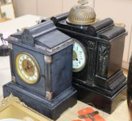Two Victorian black slate mantel clocks