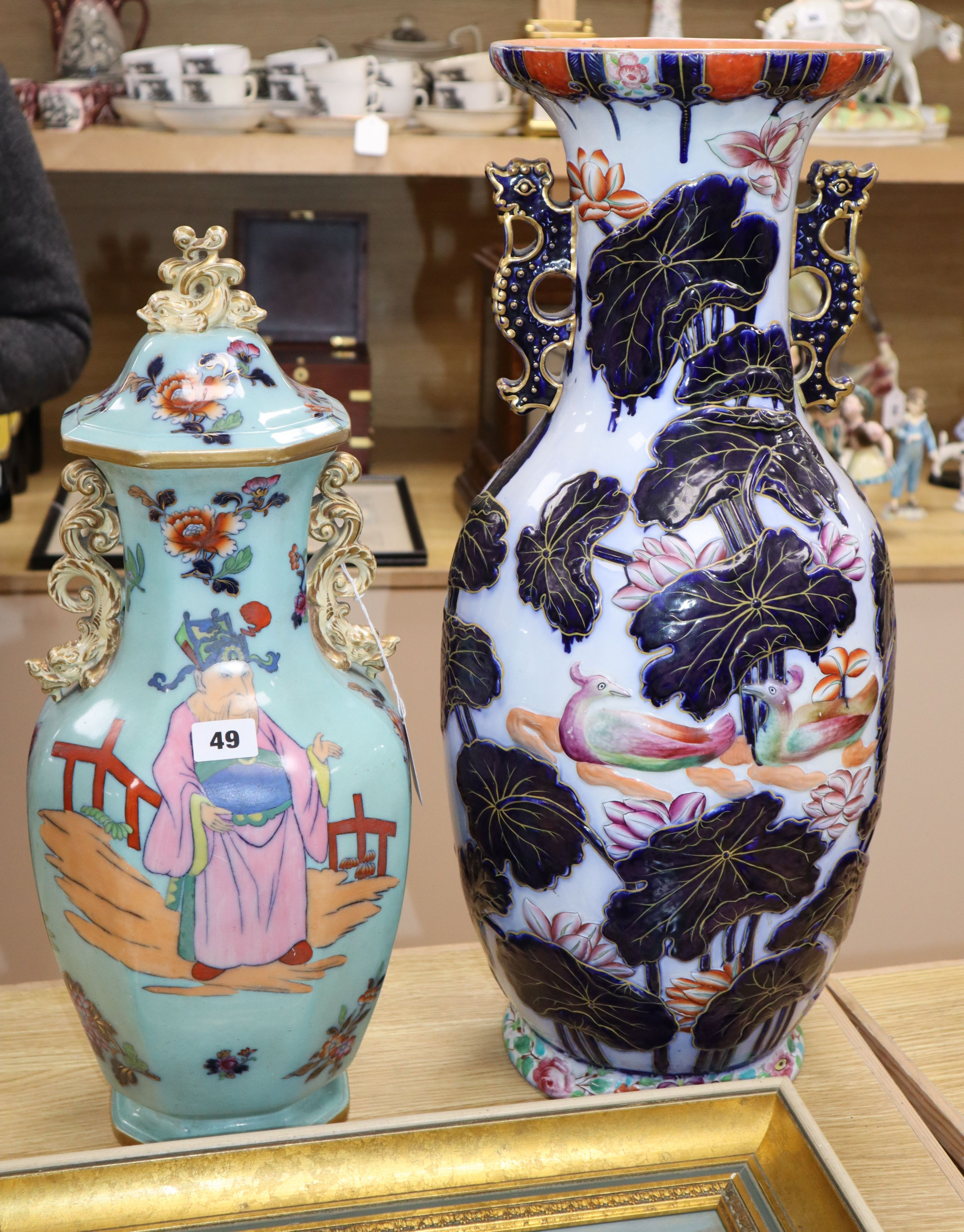 Lot 49 - Two large 19th century stoneware vases tallest 58cm