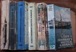 Olsen's Fisherman's Nautical Almanack: Year's 1959 (a/f), 1979, 1988, 1991, 1994 and 1998,