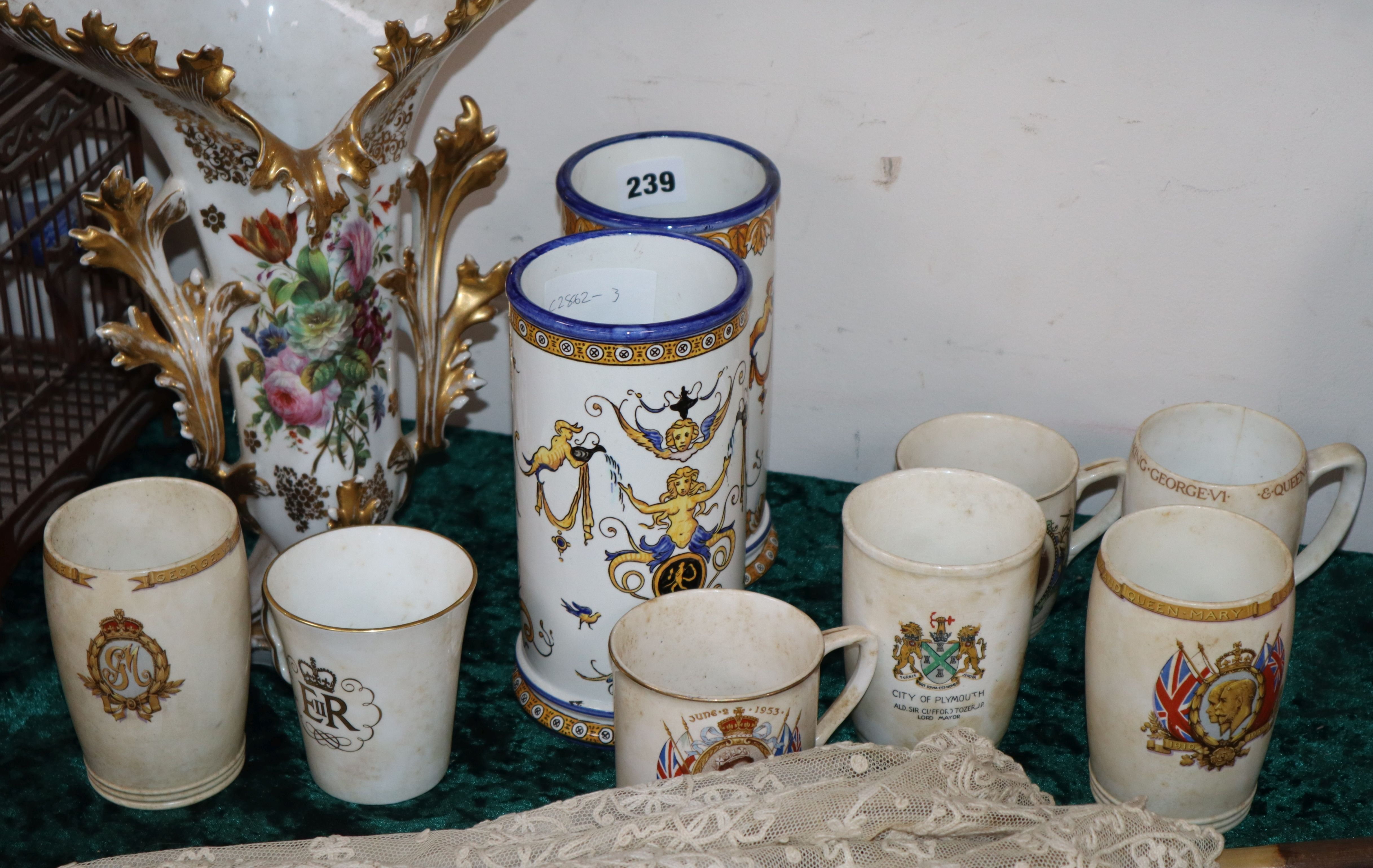 Lot 239 - A Jacob Petit style vase, a pair of Gien cylindrical vases and seven pieces of Coronationware (10)