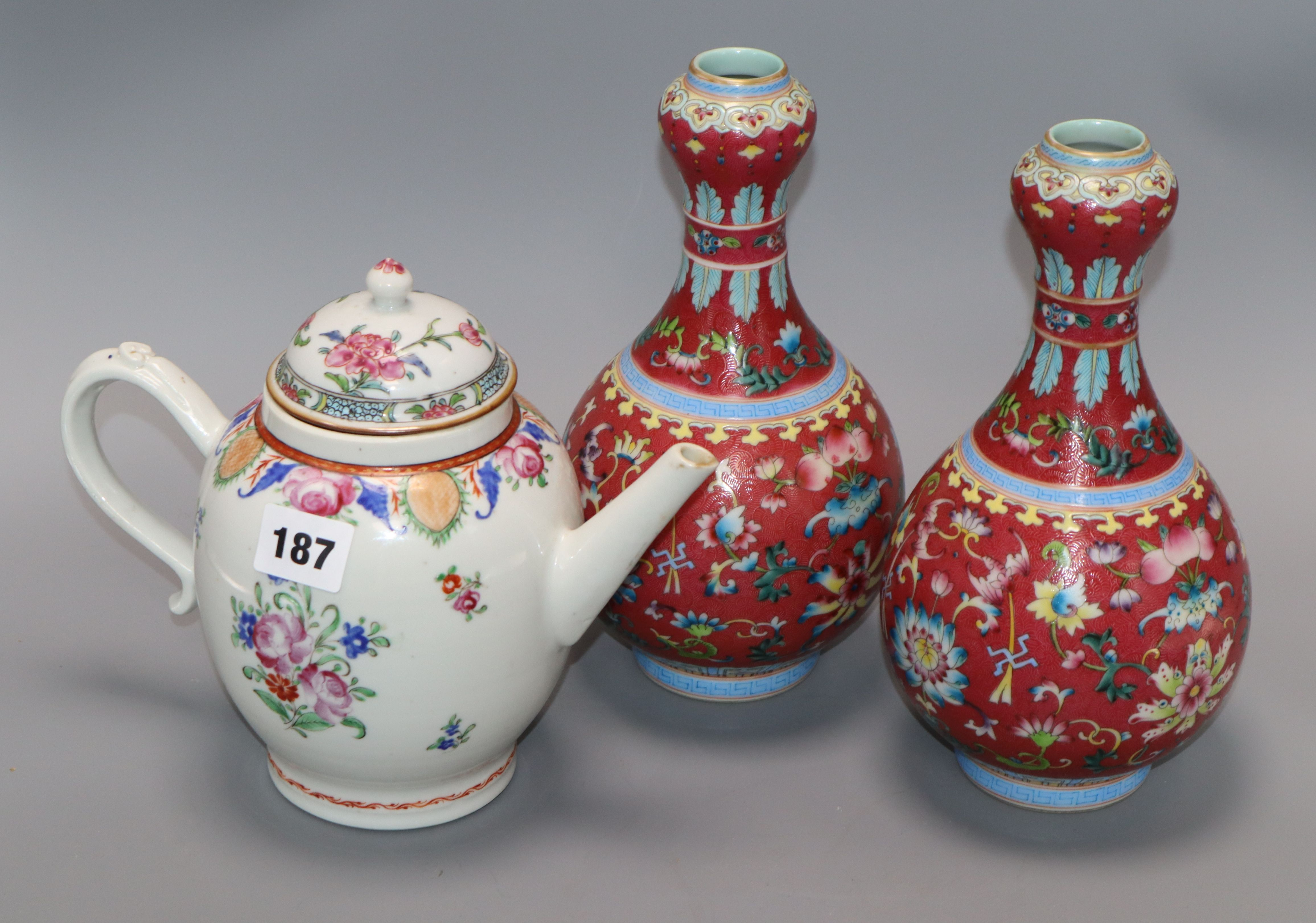 Lot 187 - A pair of Chinese garlic neck vases and a famille rose teapot