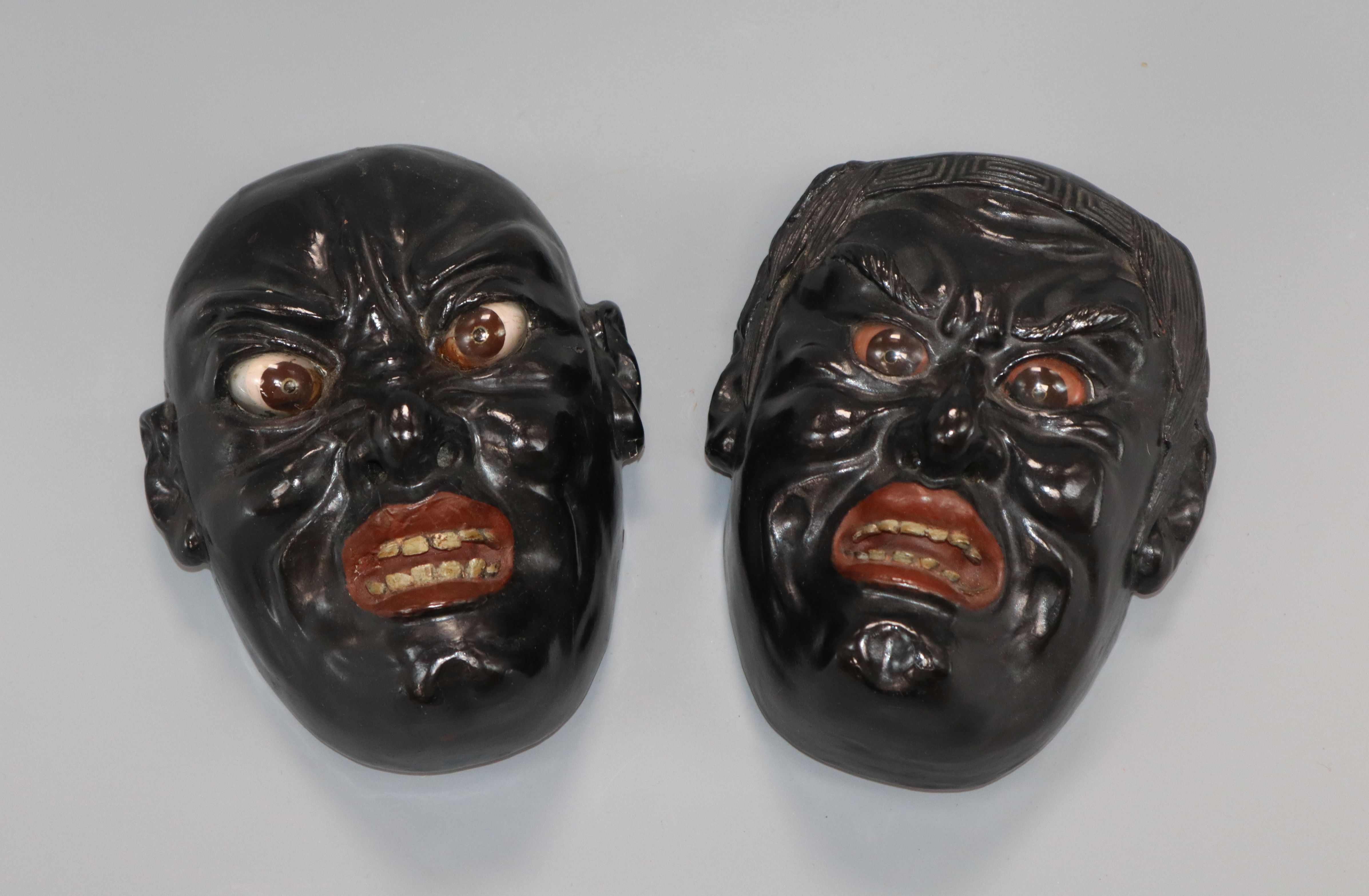 Lot 34 - A pair of Japanese Noh masks height 19cm