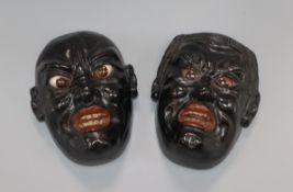 A pair of Japanese Noh masks height 19cm