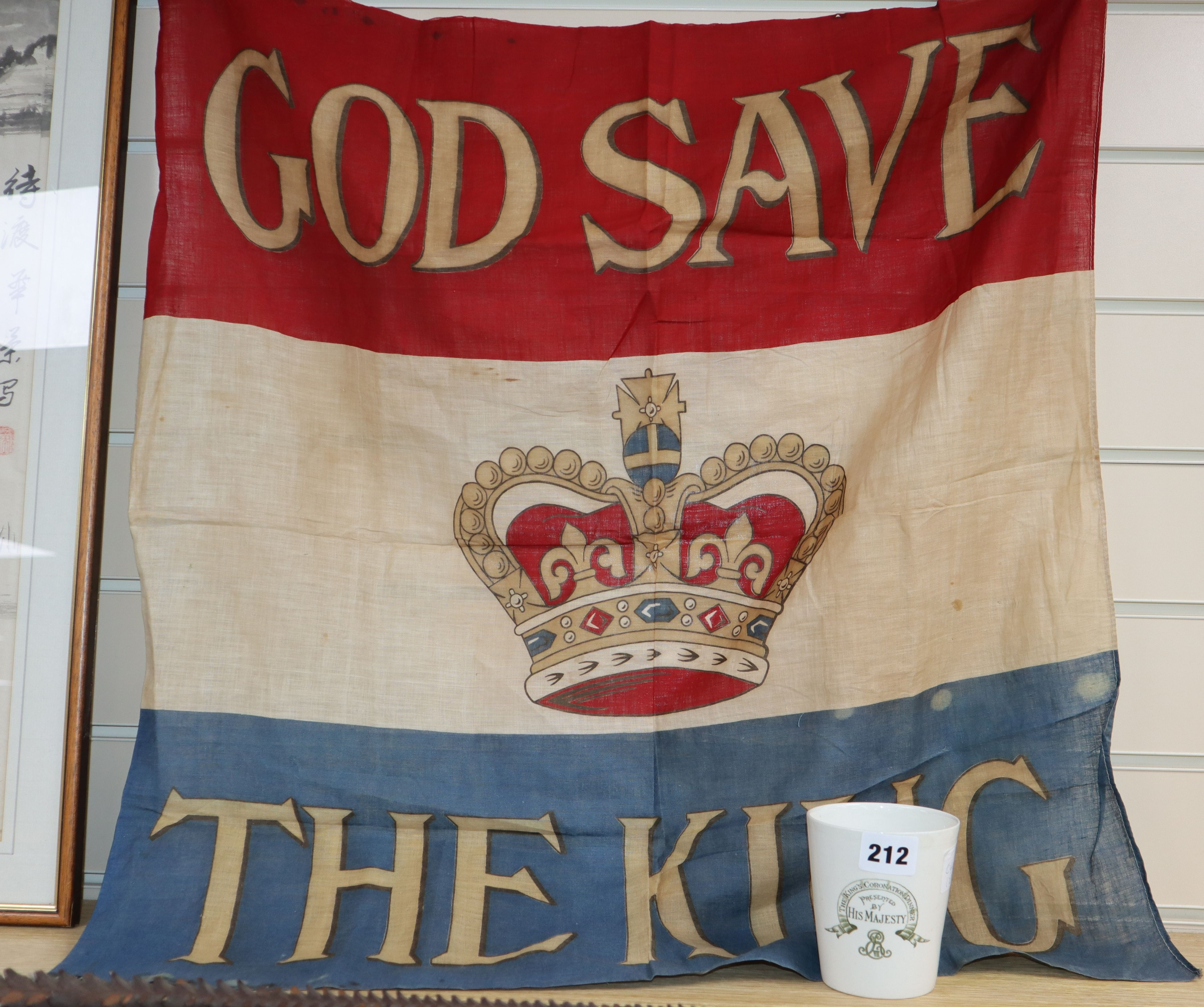 Lot 212 - An Edward VII God Save The King banner and a Doulton commemorative cup