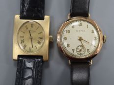 A lady's 9ct gold Cyma manual wind wrist watch and a lady's 9ct gold Longines manual wind wrist