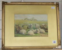 William Sidney Cooper RA (1803-1902), watercolour, sheep in a landscape, signed,24 x 35cm