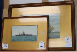 A. Fisher, watercolour, HMS Lion, signed, 11 x 19cm and J. Mitchell, watercolour, HMS Valor, 18 x