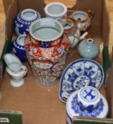 A quantity of Chinese and Japanese wares including Imari and blue and white