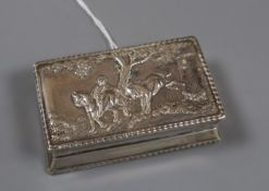 An early 20th century Hanau white metal snuff box, by Neresheimer & Sohne, import marks for Chester,