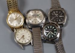 Five assorted wristwatches including Certina Biostar Electronic.