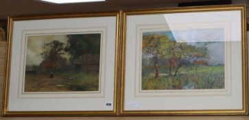 Philip Eustace Stretton (1814-1919) pair of framed watercolours, farmhouse and landscape, signed, 25