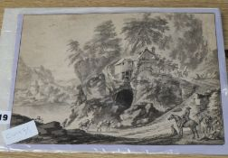 Late 18th century Continental School, monochrome watercolour, Travellers in a landscape, 23 x