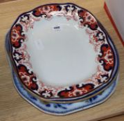 Two Copeland Spode meat dishes and a Royal Copenhagen Crown Derby meat dish