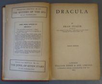 Stoker, Bram - Dracula, 10th edition, 8vo, red cloth, gilt titling labels to spine, upper board