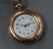 A 585 yellow metal, enamel and rose cut diamond set fob watch, with Arabic dial.