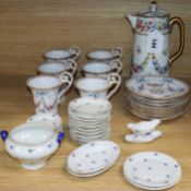 A Dresden floral painted coffee set for six and a porcelain child's tea set