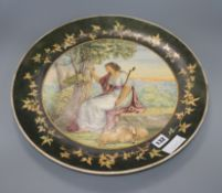 A Victorian pottery charger painted by Braidwood, bears Howell & James 1881 Exhibition label
