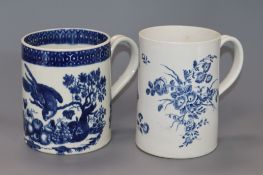 A Worcester 'Three Flowers' large mug and a similar 'Parrot Pecking Fruit' mug, c.1775, hatched