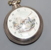 John Bailey, Manchester, a George III silver pair-cased key-wind pocket watch with painted dial.