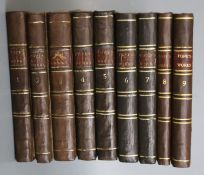 Pope, Alexander - Works, 9 vols, 8vo, engraved frontis and 23 other plates, drab boards, rebacked in