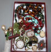 A lady's 1930's 18ct gold Record wrist watch and other mixed jewellery including opal necklace,
