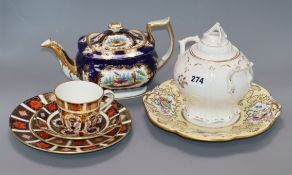 A quantity of 19th century ceramics and a Crown Derby