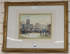Tom H.Brown, watercolour, A view of the Flat Iron Market in Salford 1921, signed, 21 x 28cm