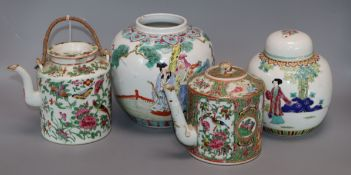 A Canton famille rose teapot, two ginger jars and one other