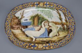 An oval maiolica dish, 19th century length 38cm