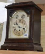 An early 20th century German eight day chiming mantel clock, with key