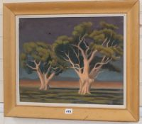 Australian School, oil on canvas, Trees in a landscape, portrait of a lady verso, thought to be