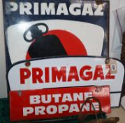 Two Primagaz enamelled signs and another enamelled sign Butane Propane
