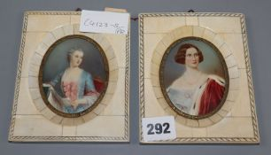 A pair of early 20th century ivory framed portrait miniatures overall height 14cm