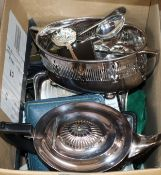 A quantity of mixed plated wares including cutlery