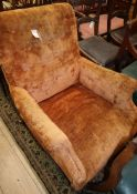 A late Victorian upholstered armchair