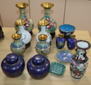 A collection of cloisonne items and stands (17 items)