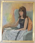 E. Cuthbertson, oil on canvas, Portrait of a seated lady, signed and dated '66, 60 x 50cm