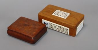 A hardwood and bone box, and another longest 17cm