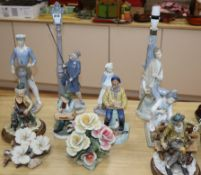Five Capo di Monte china ornaments, five Lladro china ornaments and a Doulton figure tallest 47cm