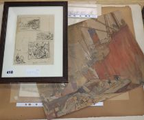Frank Brangwyn (1867-1956), a group of assorted pencil sketches, watercolours and prints, largest 33