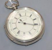 J. Marks, Leeds, a silver centre seconds key-wind chronograph pocket watch.