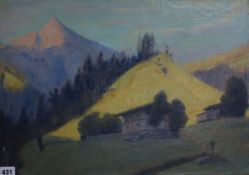 Attributed to Herbert Finney, oil on canvas laid on board, Alpine landscape in summer, 38 x 54cm,