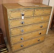 A Victorian painted pine chest of drawers W.102cm