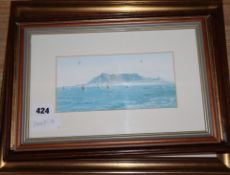 Two watercolours of shipping off the coast, a pair of moorland scenes and a colour print of yachts