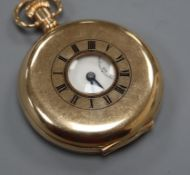 A 9ct gold half-hunter pocket watch, with Arabic dial and subsidiary seconds.