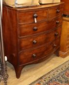 A Regency mahogany bow front chest of drawers W.108cm