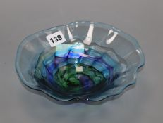 A Peter Layton Art glass footed bowl length 21.5cm