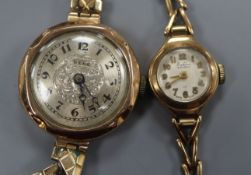 A lady's 9ct gold Bentima manual wind wrist watch, on 9ct gold bracelet and a lady's 9ct Bebe